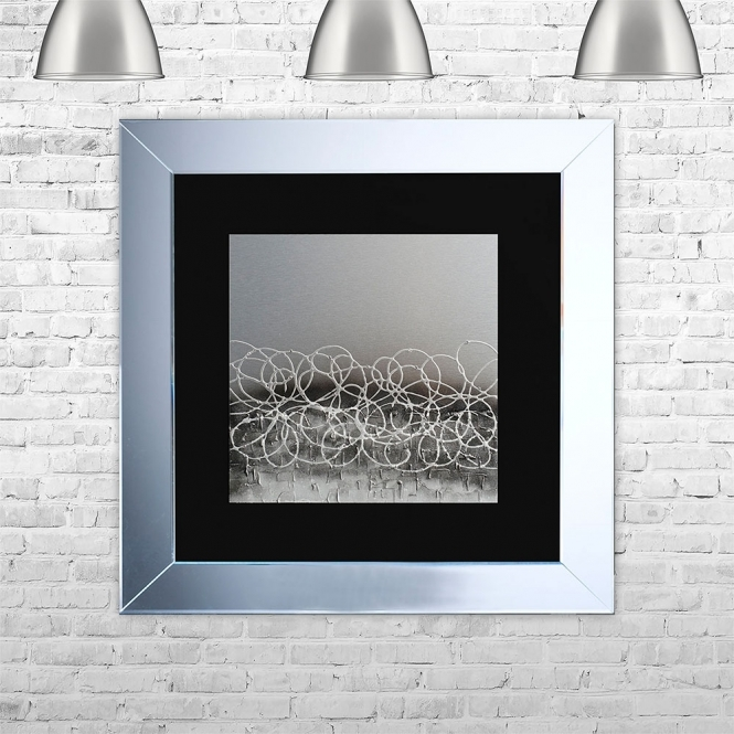 SHH Interiors STORM-BLK-MSIL Framed Liquid Artwork and Swarovski Crystals | 75cm x 75cm