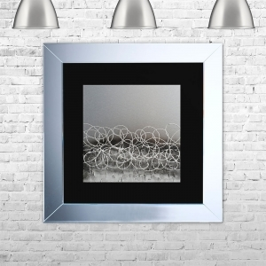 STORM-BLK-MSIL Framed Liquid Artwork and Swarovski Crystals | 75cm x 75cm