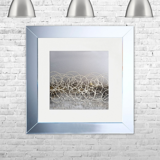 SHH Interiors STORM-WHT-MGLD Framed Liquid Artwork and Swarovski Crystals | 75cm x 75cm