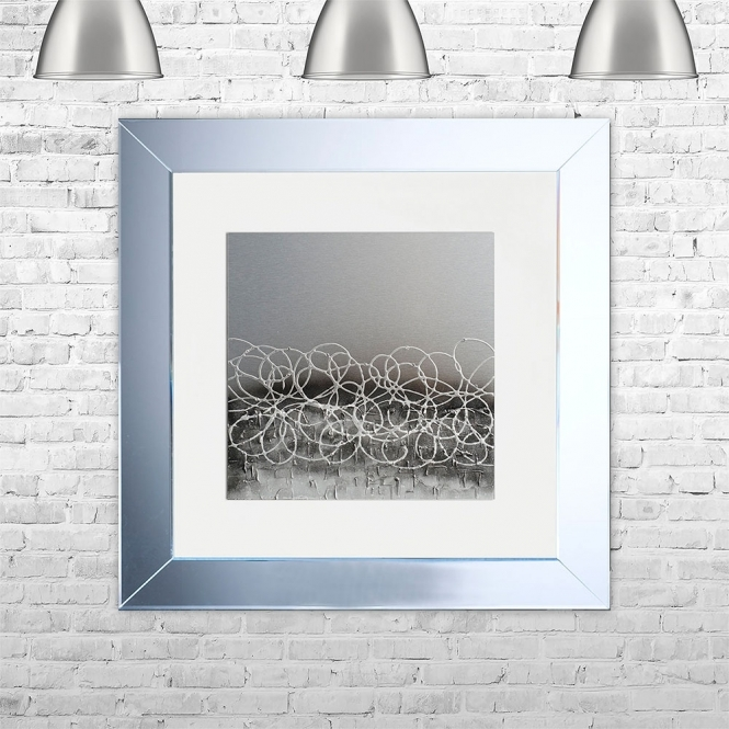SHH Interiors STORM-WHT-MSIL Framed Liquid Artwork and Swarovski Crystals | 75cm x 75cm