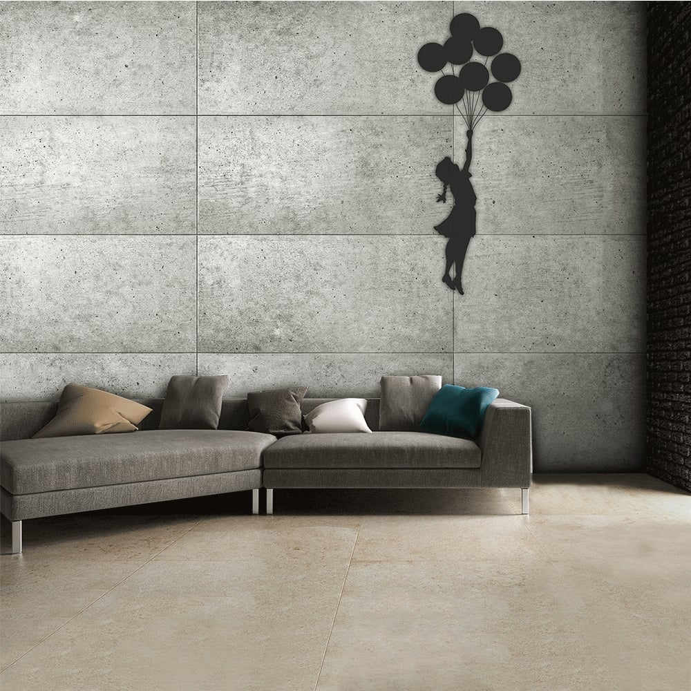 Street art banksy graffiti girl with a balloon grey rustic for Girls murals