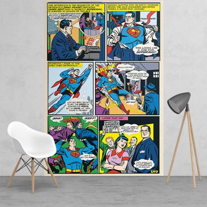 1Wall Superman Comic Strip Feature Wall Wallpaper Mural | 158cm x 232cm