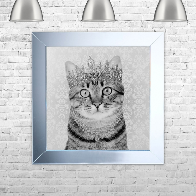 SHH Interiors Tabby Cat Framed Liquid Artwork and Swarovski Crystals
