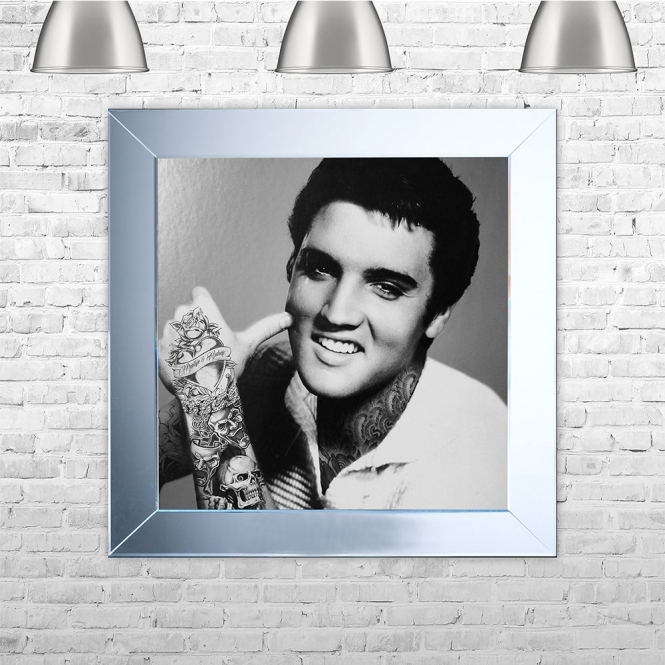 Biggon The King' Elvis Presley with Tattoos Framed Liquid Artwork with crushed glass and Swarovski Crystals