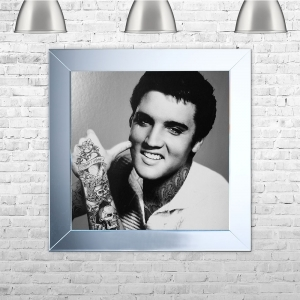 The King' Elvis Presley with Tattoos Framed Liquid Artwork with crushed glass and Swarovski Crystals
