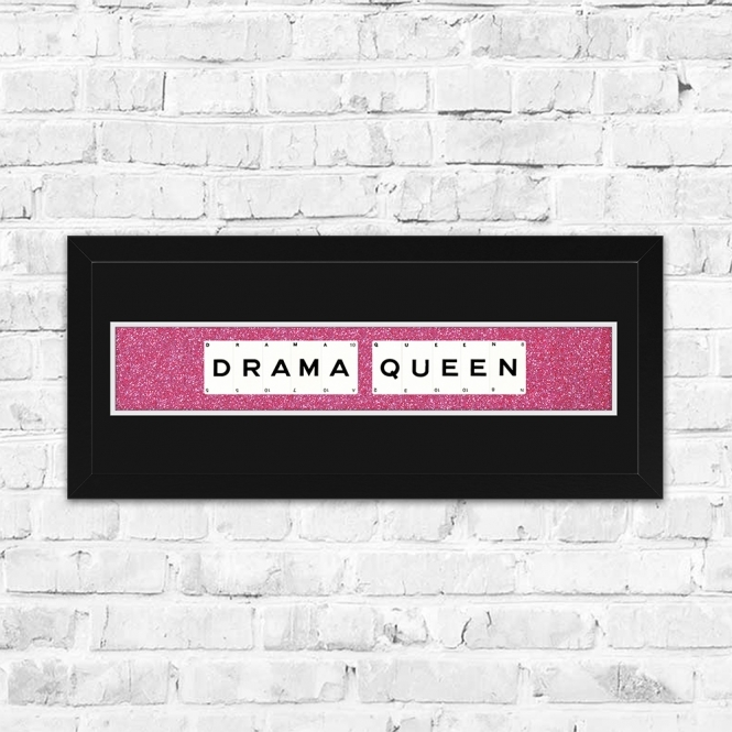 The Playing Card Co. Drama Queen Pink Glitter Framed Playing Cards