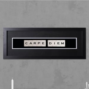 "Hand made ""CARPE DIEM"" Quote with Vintage Playing Cards 