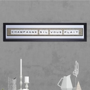 "Hand made ""CHAMPAGNE SIL VOUS PLAIT"" Quote with Vintage Playing Cards 