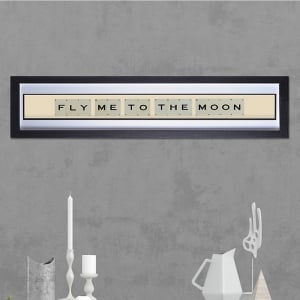 "Hand made ""FLY TO THE MOON"" Quote with Vintage Playing Cards 
