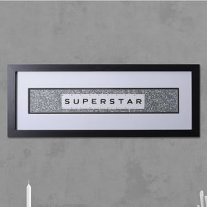 "Hand made ""FRAMED SUPERSTAR"" Quote with Vintage Playing Cards 