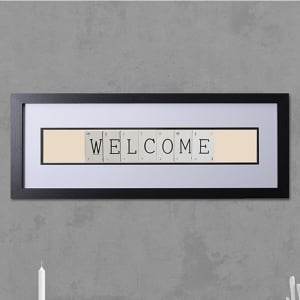 "Hand made ""WELCOME"" Quote with Vintage Playing Cards 