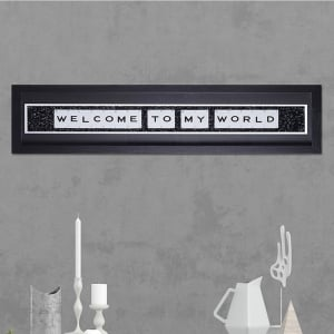 "Hand made ""WELCOME TO MY WORLD"" Quote with Vintage Playing Cards 