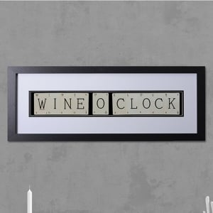 "Hand made ""WINE O CLOCK"" Quote with Vintage Playing Cards 