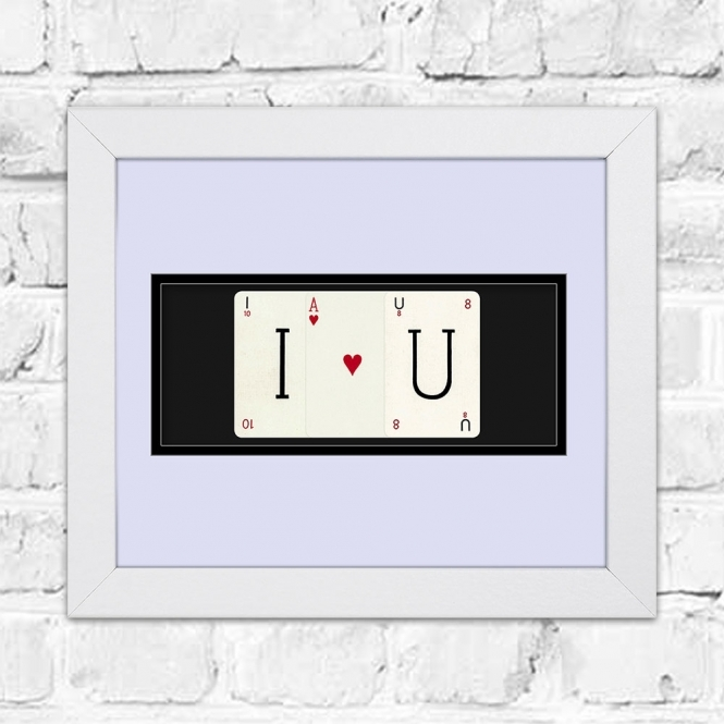 The Playing Card Co. I <3 U Framed Playing Cards Artwork | Perfect For Valentines Day or a Partners Birthday