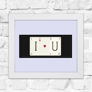 I <3 U Framed Playing Cards Artwork | Perfect For Valentines Day or a Partners Birthday