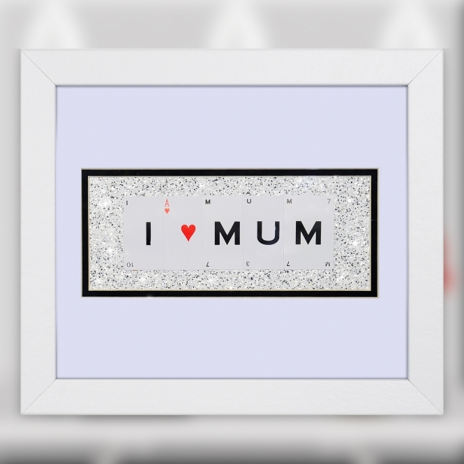 The Playing Card Co. I Love Mum Quote on Glitter Background 30cm x 25cm