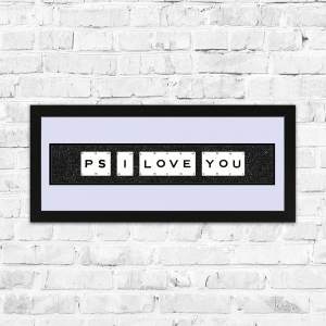 PS I Love You Black Glitter Framed Playing Cards