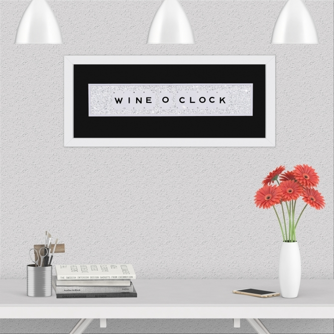 The Playing Card Co. Wine O'Clock Quote on Glitter Background 66cm x 25cm