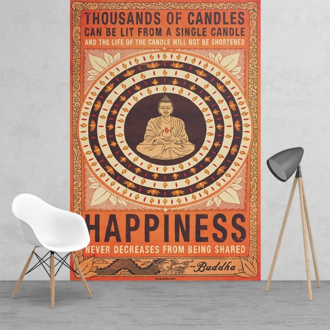 1Wall Thousand of Candles Happiness Buddha Feature Wall Wallpaper Mural | 158cm x 232cm