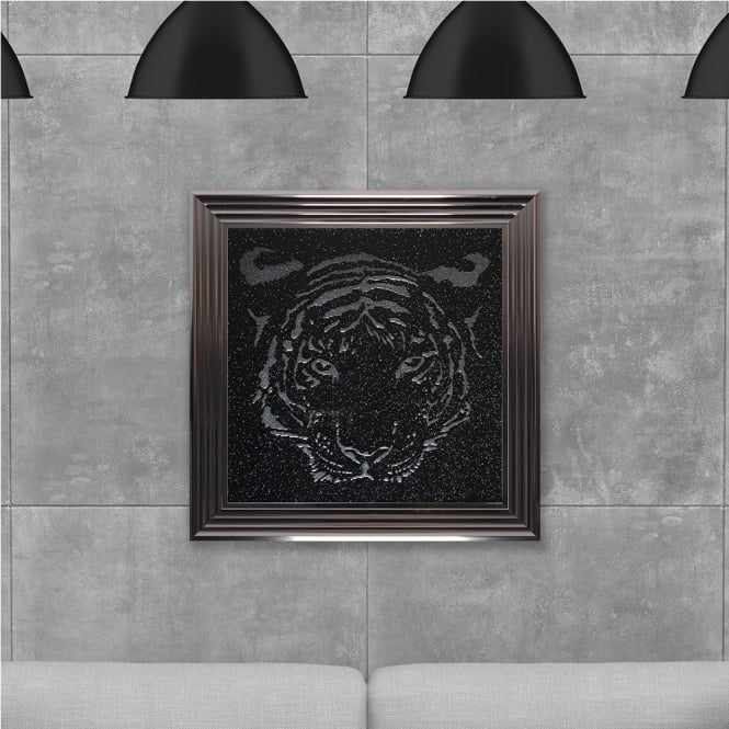 SHH Interiors Tiger in Silver Glitter Hand Made with Liquid Glass and Swarovski Crystals 75 x 75 cm