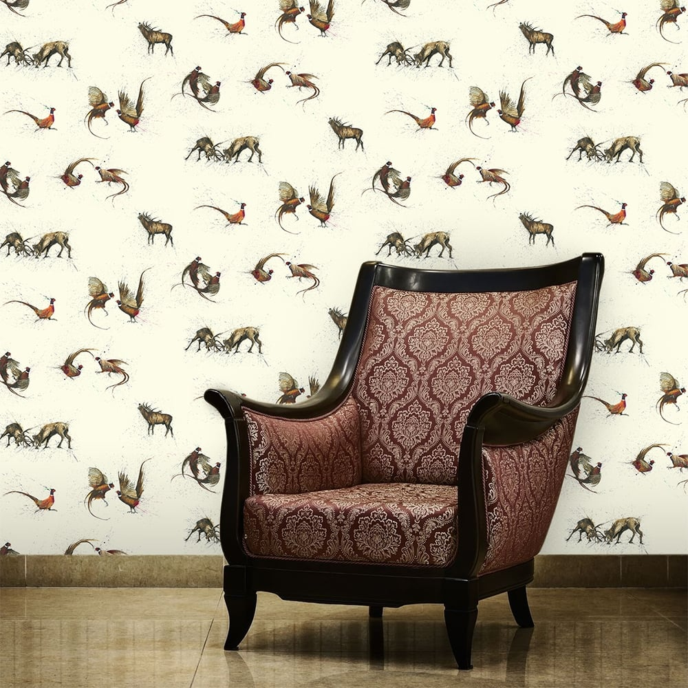 Traditional stag and pheasant neutral wallpaper 53cm x 1005cm - Pheasant wallpaper for walls ...