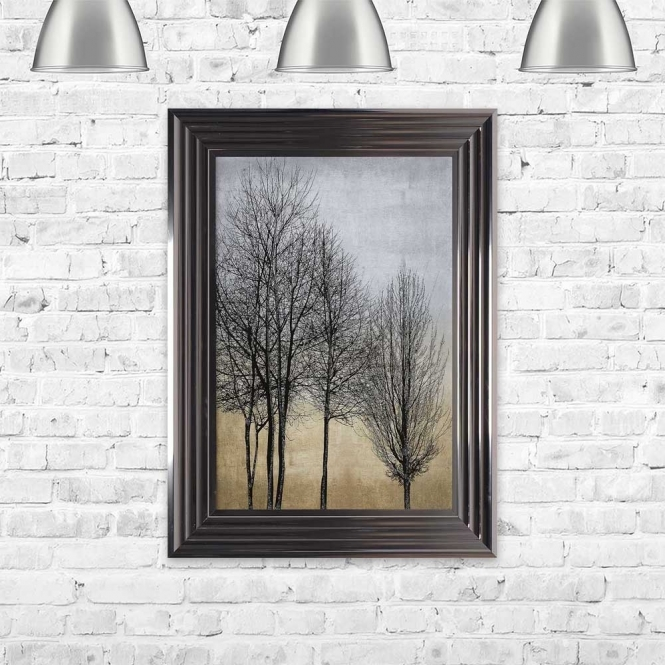 TREE LINE GOLD AND SILVER 1 FRAMED WALL ART