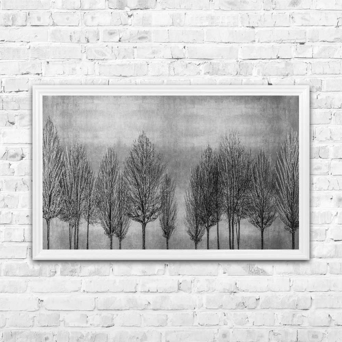 TREE LINE SILVER FRAMED WALL ART