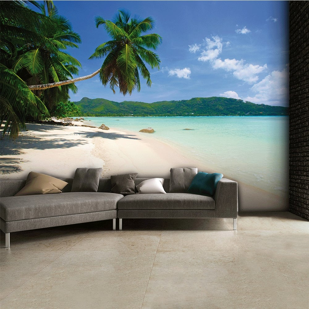 Tropical palm beach wall mural 315cm x 232cm for Beach mural for wall