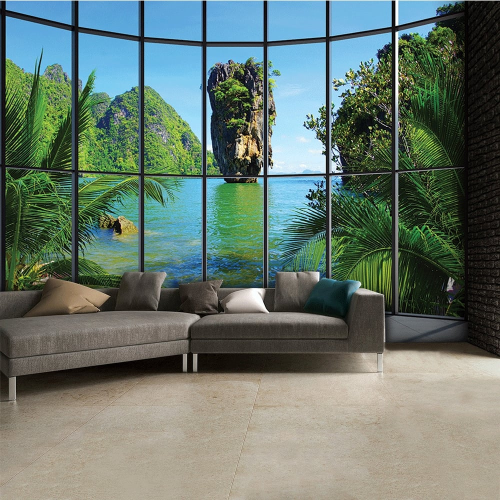 Thailand window view wall mural 315cm x 232cm tropical thailand window view wall mural 315cm x 232cm amipublicfo Images