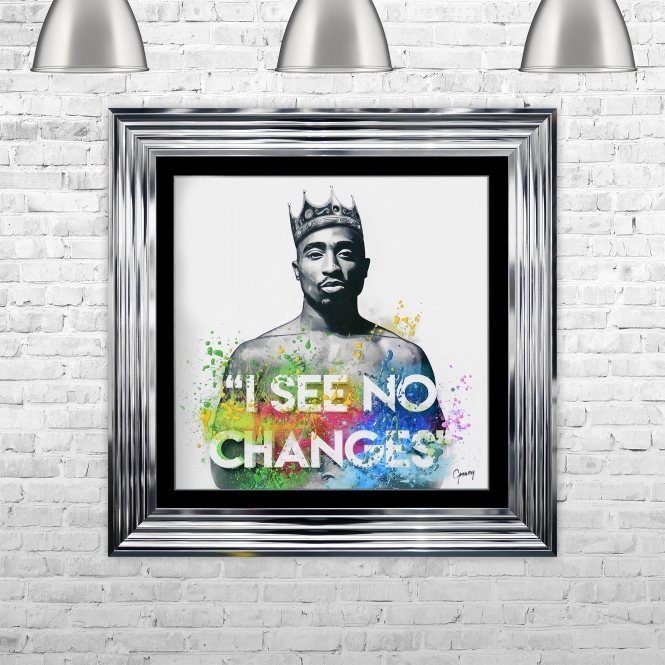 Greavesy Tupac Changes Art Framed Liquid Artwork and Swarovski Crystals