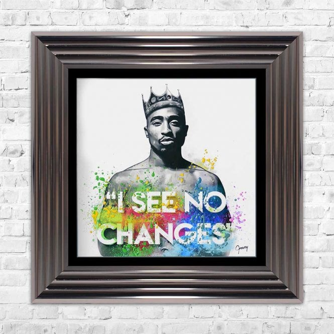 TUPAC 'I SEE NO CHANGES' FRAMED WALL ART