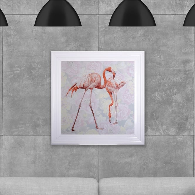 SHH Interiors Two Flamingos Hand Made with Liquid Glass and Swarovski Crystals 75 x 75 cm