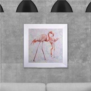 Two Flamingos Hand Made with Liquid Glass and Swarovski Crystals 75 x 75 cm
