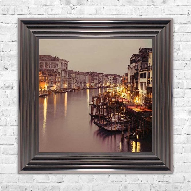 VENICE AT NIGHT FRAMED WALL ART