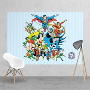 Vintage Classic DC Comic Superhero Batman Robin Superman Wonder Woman Feature Wall Wallpaper Mural | 158cm x 232cm