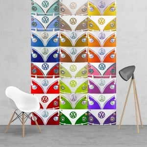 VW Volkswagen Campervan Logo Badge Multi Coloured Wallpaper Mural 2 Piece Murals | 158cm x 232cm