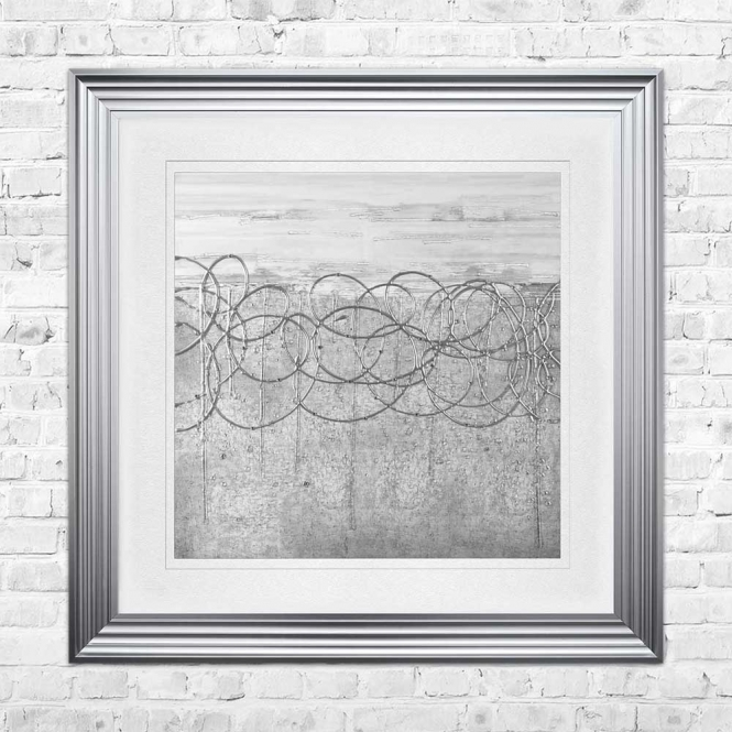 WHITE ON SILVER S Wall Art | 90cm x 90cm