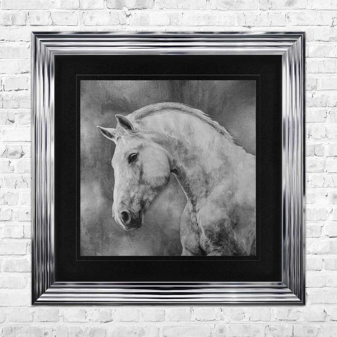 WHITE STALLION Wall Art | 90cm x 90cm