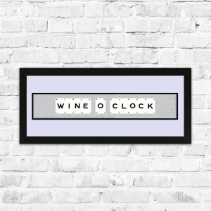 Wine O Clock White Glitter Framed Playing Cards
