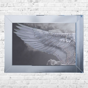 Wing Left Cloudy Framed Liquid Artwork and Swarovski Crystals
