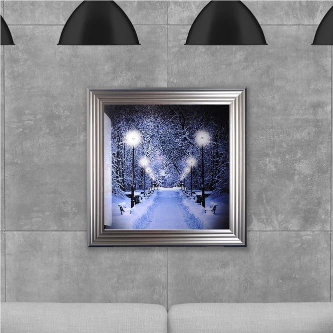 SHH Interiors Winter Walkway Hand Made with Liquid Glass and Swarovski Crystals 75 x 75 cm