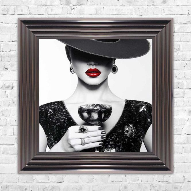 WOMAN WITH SOUR APPLE COCKTAIL FRAMED WALL ART