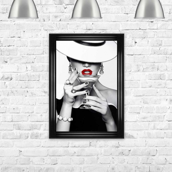 WOMAN WITH WHITE RUSSIAN COCKTAIL FRAMED WALL ART