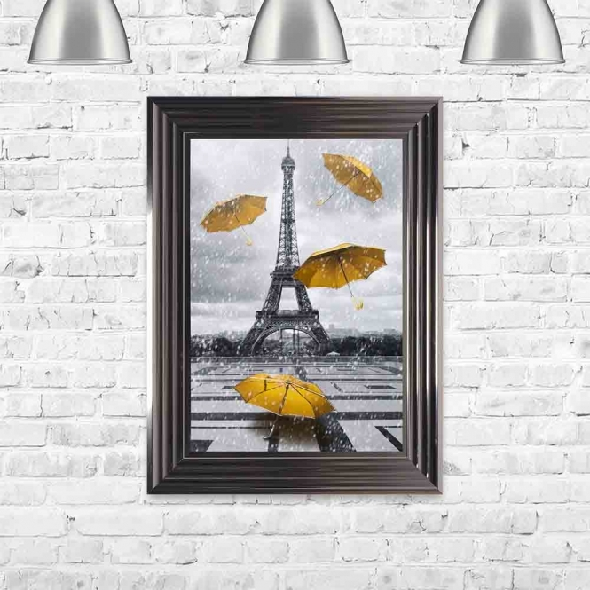 YELLOW UMBRELLAS AT THE EIFFEL TOWER PARIS FRAMED WALL ART
